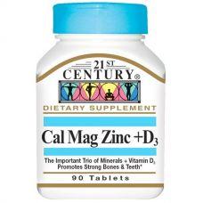Кальций, магний, цинк + D3, 90 таблеток