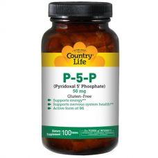 Витамин B6 (пиридоксаль-5-фосфат),  50 мг, 100 таблеток от Country Life