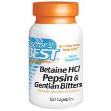 Бетаина гидрохлорид, Пепсин и Генциана (Betaine HCL Pepsin & Gentian Bitters), 120 капсул