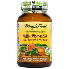 Мультивитамины для женщин старше 55+, без железа, 60 таблеток