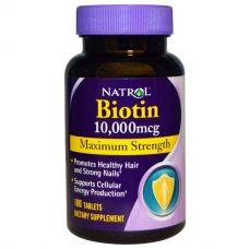 Биотин, Максимальный эффект, 10000 мкг, 100 таблеток от Natrol