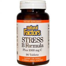 Формула Стресс B, Плюс 1000 мг C, 90 таблеток