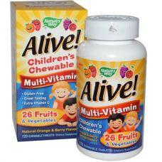 Детские жевательные мультивитамины со вкусом апельсина и ягод Alive!, 120 таблеток