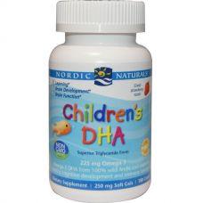 Рыбий жир для детей, со вкусом клубники, 250 мг, 180 капсул