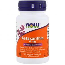 Астаксантин, 4 мг, 60 капсул от Now Foods