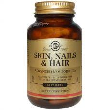 Витамины для кожи, волос и ногтей с метилсульфонилметаном, 60 таблеток от Solgar
