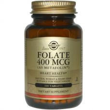 Фолиевая кислота, фолат, 400 мкг, 100 таблеток