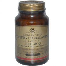 Витамин В12, cублингвальный метилкобаламин, 1000 мкг, 60 капсул